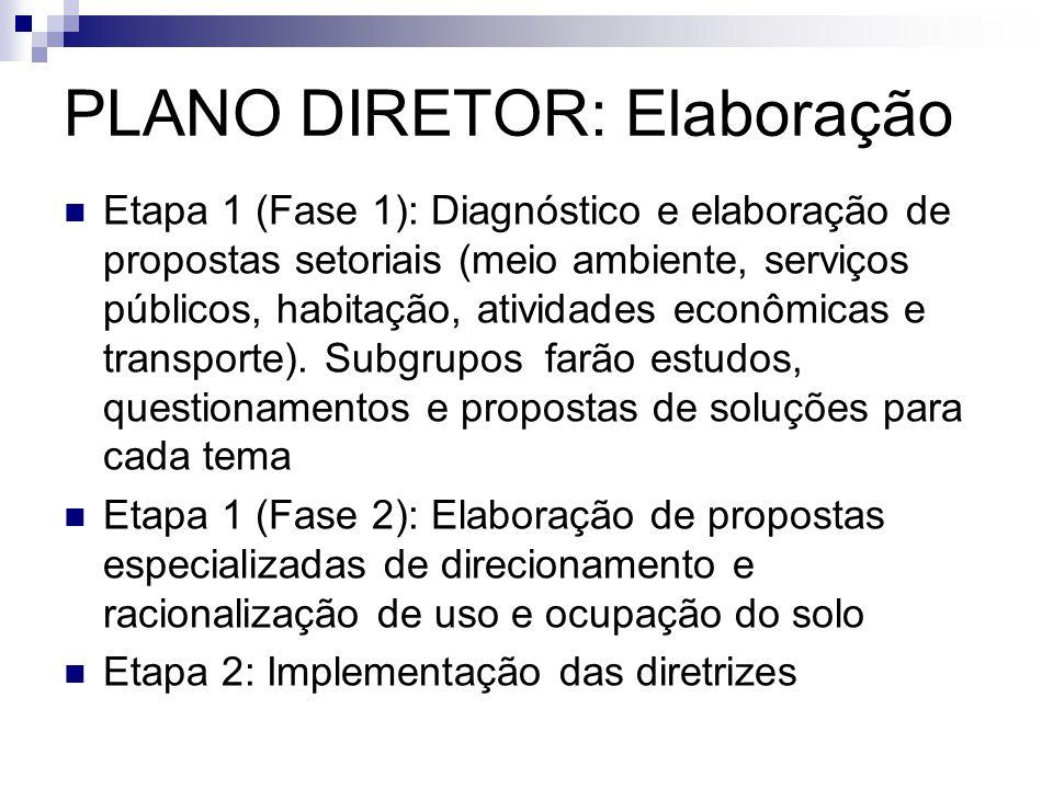  Etapa 1 (Fase 1): Diagnóstico e elaboração de propostas setoriais (meio ambiente, serviços públicos, habitação, atividades econômicas e transporte).