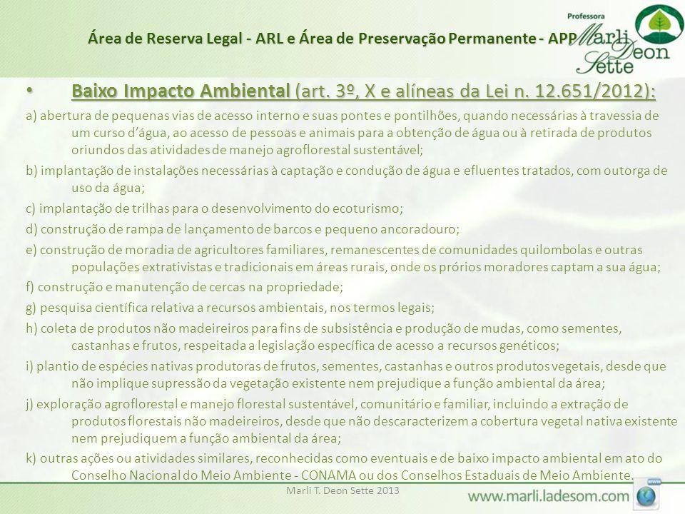 Marli T. Deon Sette 2013 Área de Reserva Legal - ARL e Área de Preservação Permanente - APP • Baixo Impacto Ambiental (art. 3º, X e alíneas da Lei n.