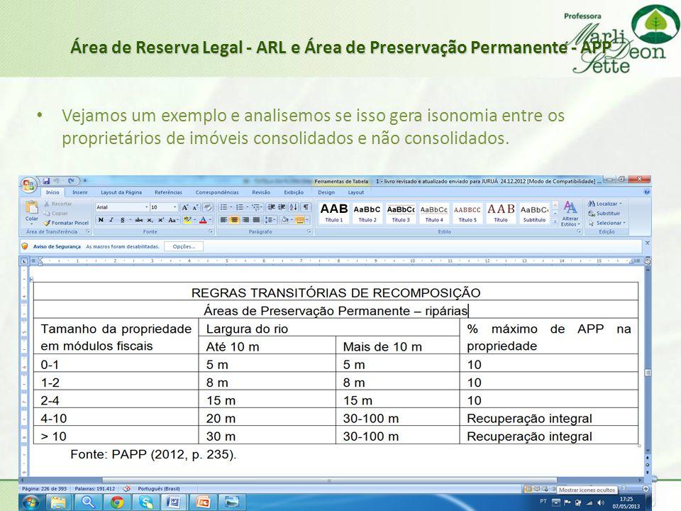 Área de Reserva Legal - ARL e Área de Preservação Permanente - APP • Vejamos um exemplo e analisemos se isso gera isonomia entre os proprietários de i