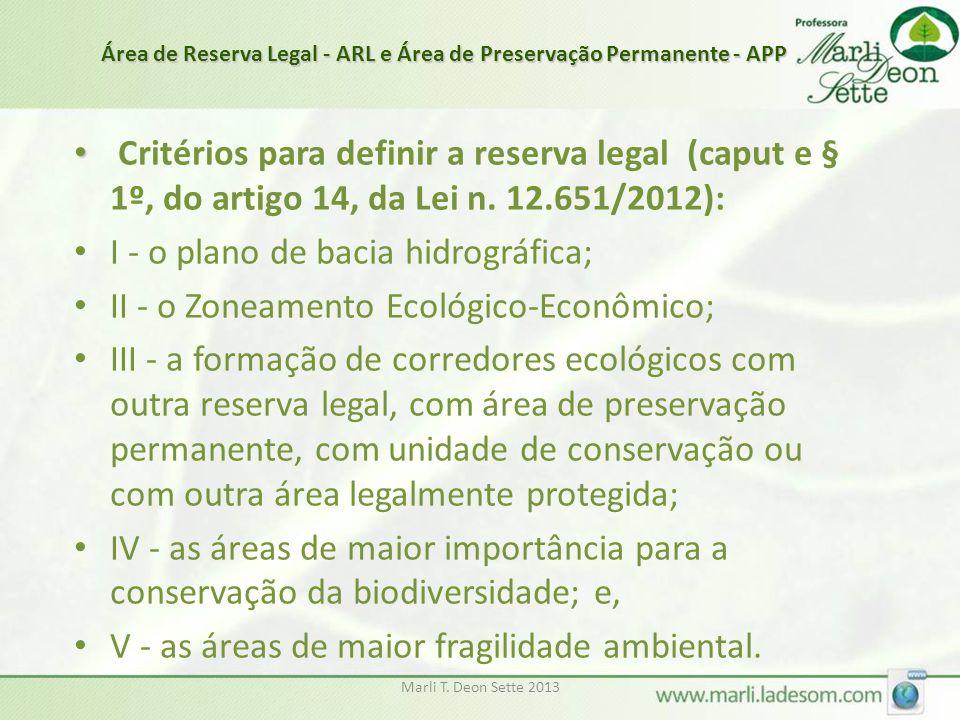 Marli T. Deon Sette 2013 • • Critérios para definir a reserva legal (caput e § 1º, do artigo 14, da Lei n. 12.651/2012): • I - o plano de bacia hidrog