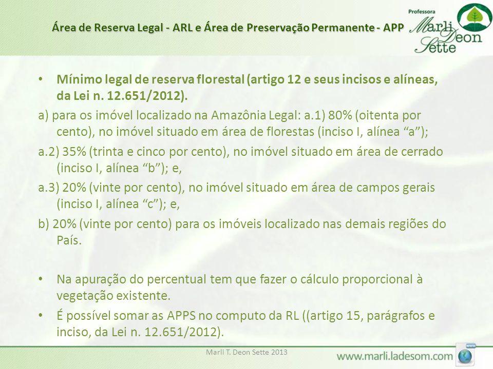 Marli T. Deon Sette 2013 • Mínimo legal de reserva florestal (artigo 12 e seus incisos e alíneas, da Lei n. 12.651/2012). a) para os imóvel localizado
