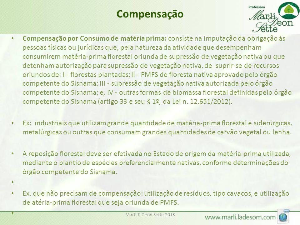 Marli T. Deon Sette 2013 Compensação • Compensação por Consumo de matéria prima: consiste na imputação da obrigação às pessoas físicas ou jurídicas qu