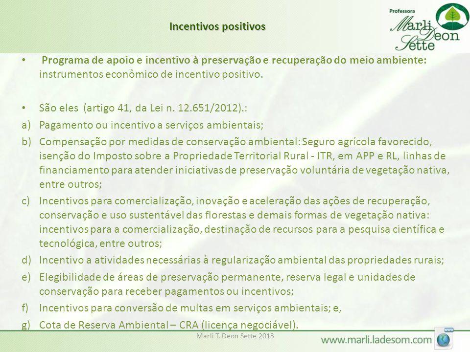 Marli T. Deon Sette 2013 • Programa de apoio e incentivo à preservação e recuperação do meio ambiente: instrumentos econômico de incentivo positivo. •