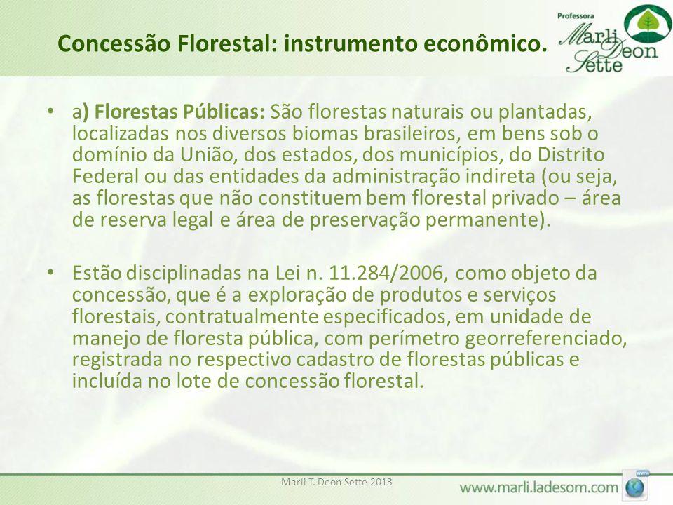 Marli T. Deon Sette 2013 Concessão Florestal: instrumento econômico. • a) Florestas Públicas: São florestas naturais ou plantadas, localizadas nos div