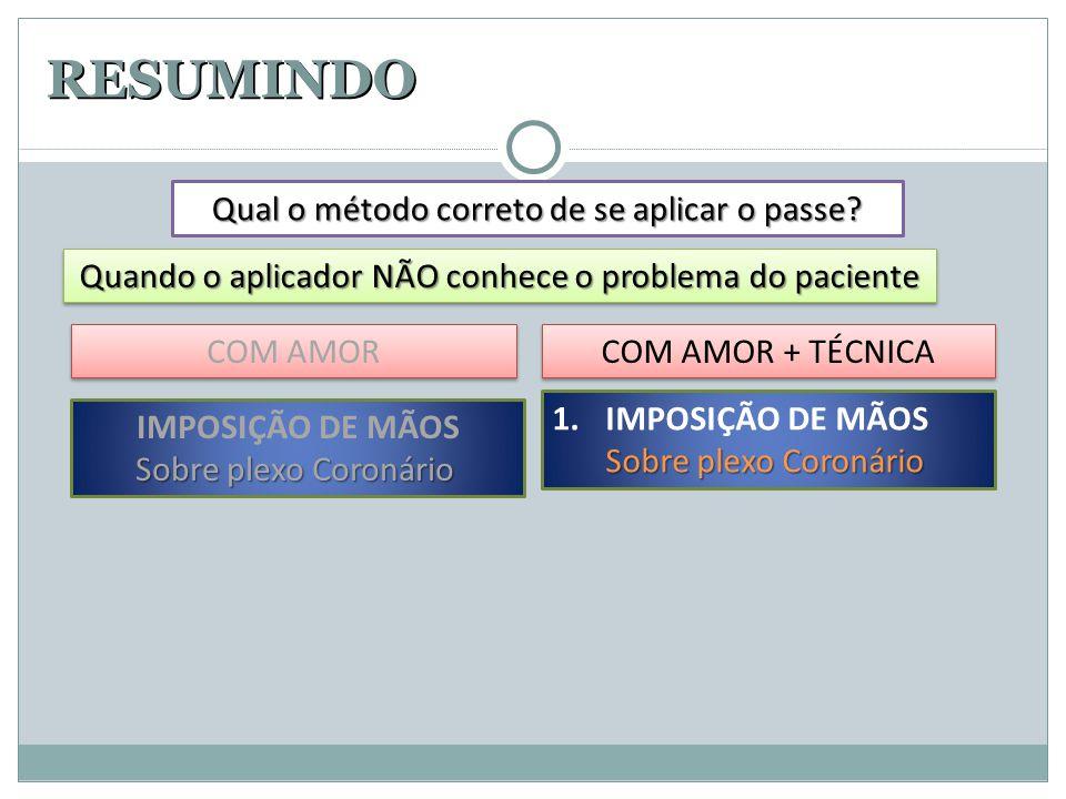 RESUMINDO 1.IMPOSIÇÃO DE MÃOS Sobre plexo Coronário Qual o método correto de se aplicar o passe? Quando o aplicador NÃO conhece o problema do paciente