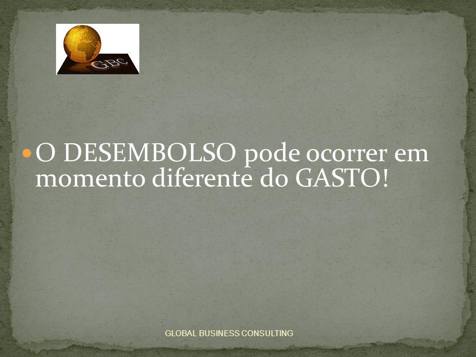  O DESEMBOLSO pode ocorrer em momento diferente do GASTO! GLOBAL BUSINESS CONSULTING