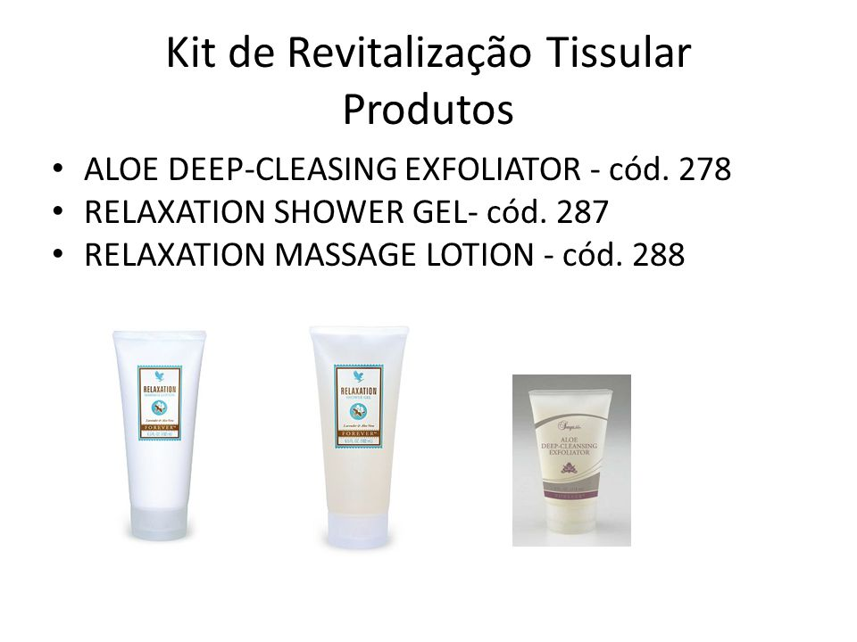Kit de Revitalização Tissular Produtos • ALOE DEEP-CLEASING EXFOLIATOR - cód. 278 • RELAXATION SHOWER GEL- cód. 287 • RELAXATION MASSAGE LOTION - cód.