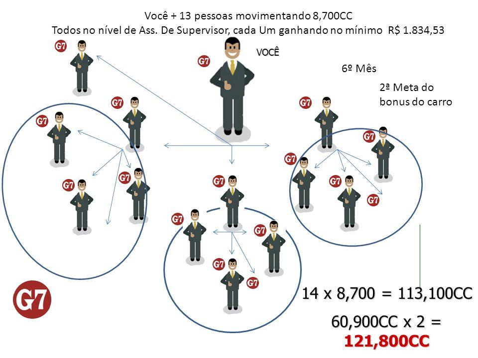 VOCÊ Você + 13 pessoas movimentando 8,700CC Todos no nível de Ass. De Supervisor, cada Um ganhando no mínimo R$ 1.834,53 6º Mês 14 x 8,700 = 113,100CC