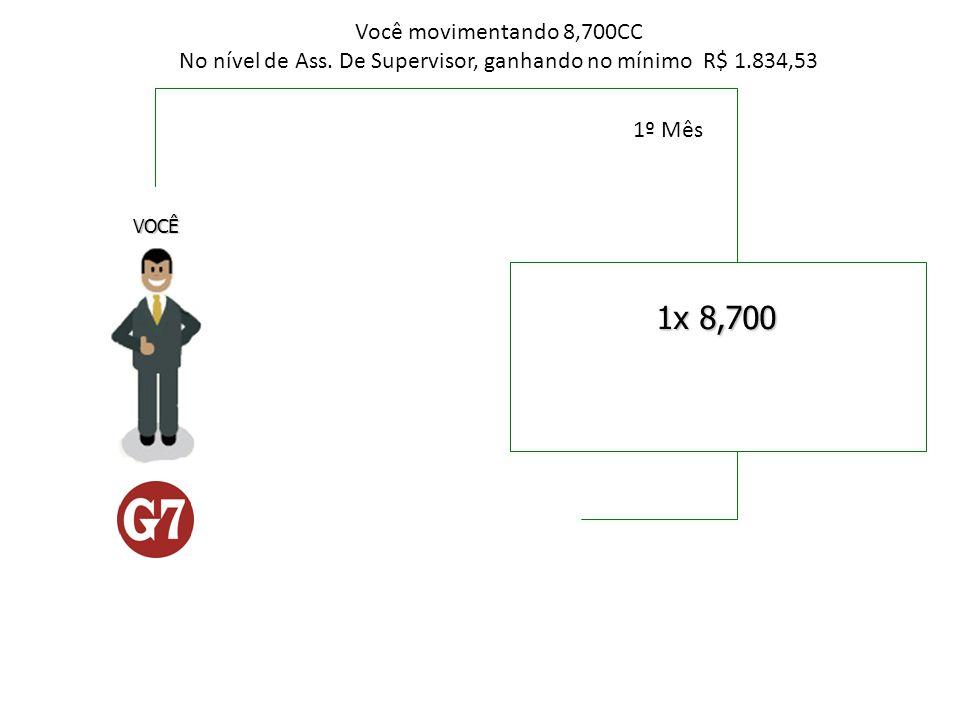 1x 8,700 VOCÊ Você movimentando 8,700CC No nível de Ass. De Supervisor, ganhando no mínimo R$ 1.834,53 1º Mês
