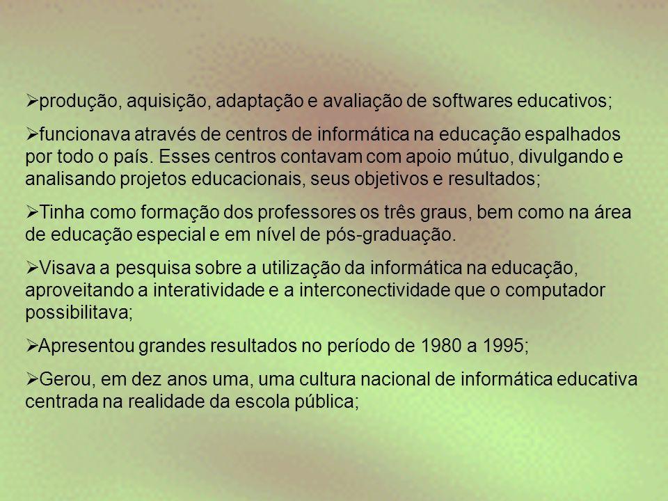  produção, aquisição, adaptação e avaliação de softwares educativos;  funcionava através de centros de informática na educação espalhados por todo o