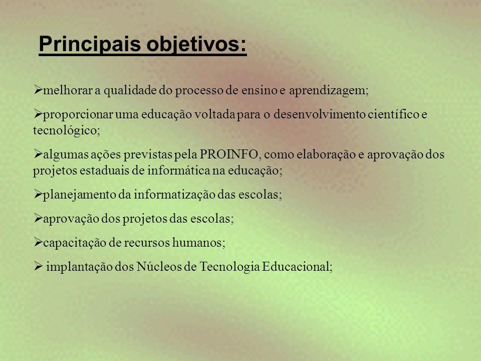 Principais objetivos:  melhorar a qualidade do processo de ensino e aprendizagem;  proporcionar uma educação voltada para o desenvolvimento científi