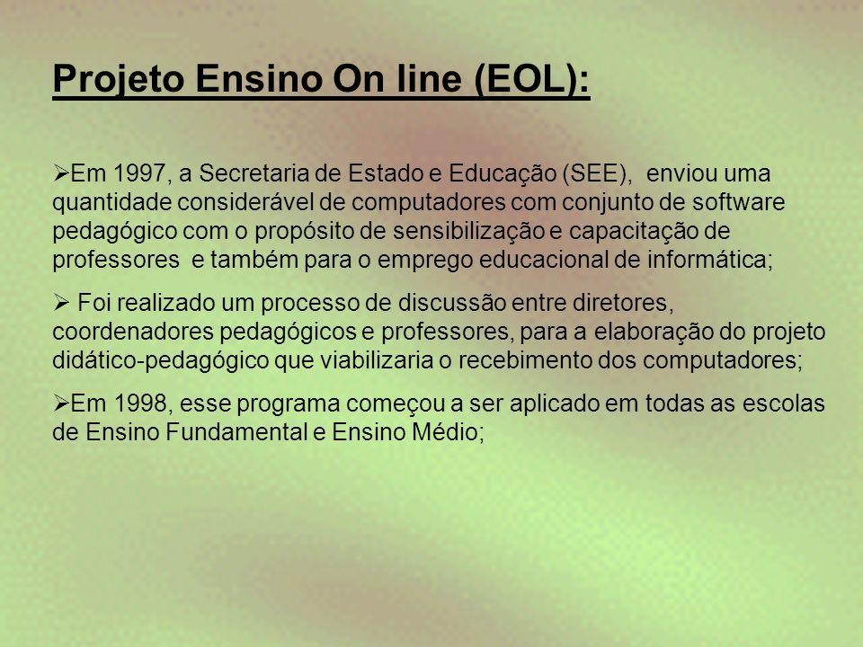 Projeto Ensino On line (EOL):  Em 1997, a Secretaria de Estado e Educação (SEE), enviou uma quantidade considerável de computadores com conjunto de s
