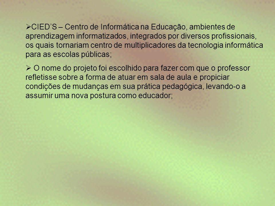  CIED'S – Centro de Informática na Educação, ambientes de aprendizagem informatizados, integrados por diversos profissionais, os quais tornariam cent