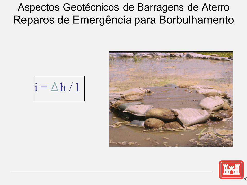 i = h / l Aspectos Geotécnicos de Barragens de Aterro Reparos de Emergência para Borbulhamento
