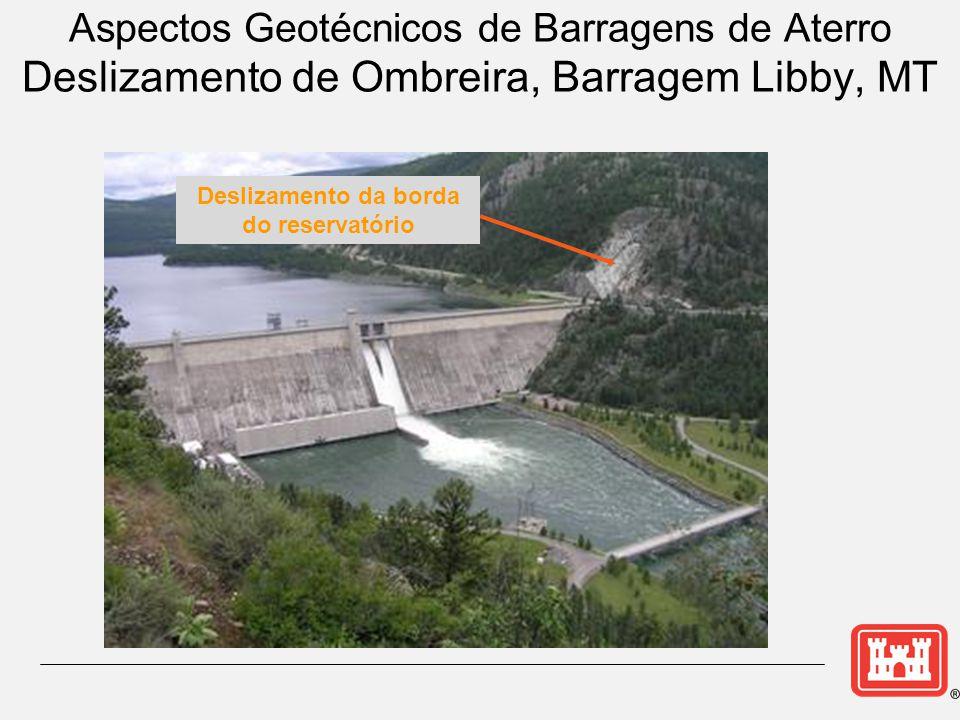 Reservoir Rim Slides Aspectos Geotécnicos de Barragens de Aterro Deslizamento de Ombreira, Barragem Libby, MT Deslizamento da borda do reservatório