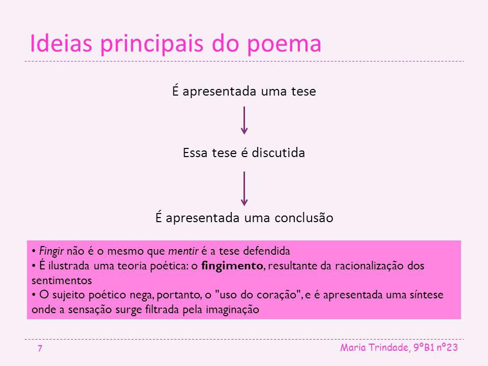 Ideias principais do poema Maria Trindade, 9ºB1 nº23 7 É apresentada uma tese Essa tese é discutida É apresentada uma conclusão. • Fingir não é o mesm