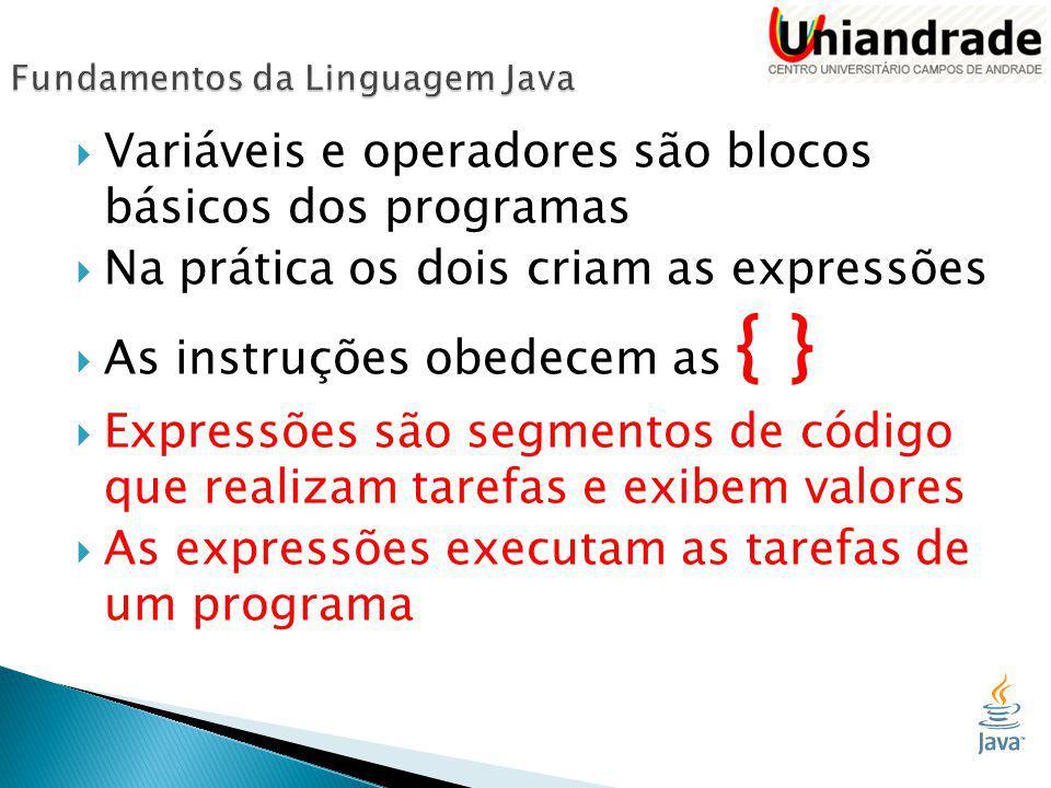  Variáveis e operadores são blocos básicos dos programas  Na prática os dois criam as expressões  As instruções obedecem as { }  Expressões são segmentos de código que realizam tarefas e exibem valores  As expressões executam as tarefas de um programa