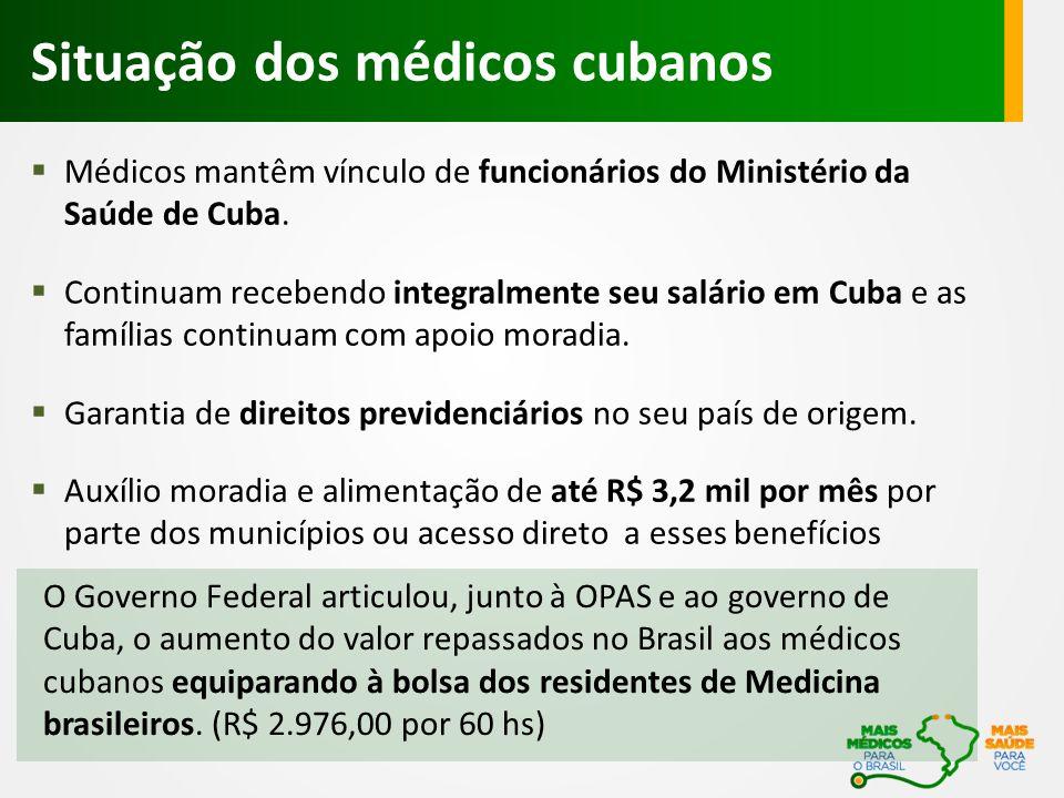 Situação dos médicos cubanos O Governo Federal articulou, junto à OPAS e ao governo de Cuba, o aumento do valor repassados no Brasil aos médicos cubanos equiparando à bolsa dos residentes de Medicina brasileiros.