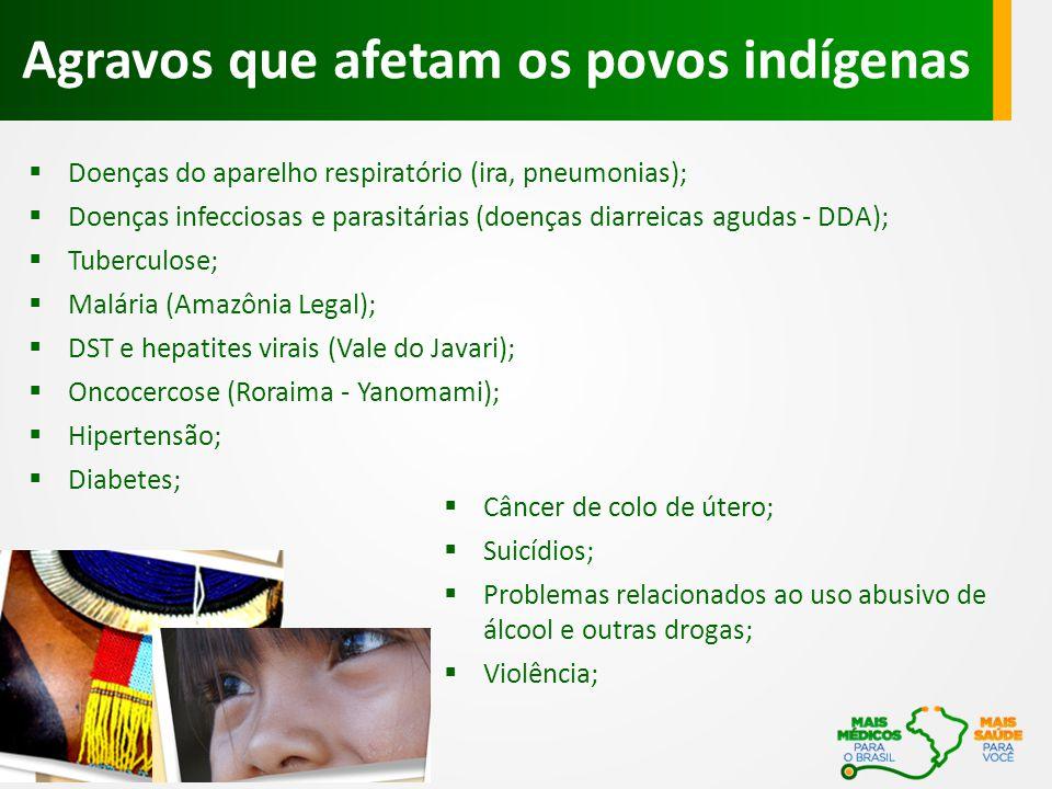  Doenças do aparelho respiratório (ira, pneumonias);  Doenças infecciosas e parasitárias (doenças diarreicas agudas - DDA);  Tuberculose;  Malária (Amazônia Legal);  DST e hepatites virais (Vale do Javari);  Oncocercose (Roraima - Yanomami);  Hipertensão;  Diabetes; Agravos que afetam os povos indígenas  Câncer de colo de útero;  Suicídios;  Problemas relacionados ao uso abusivo de álcool e outras drogas;  Violência;