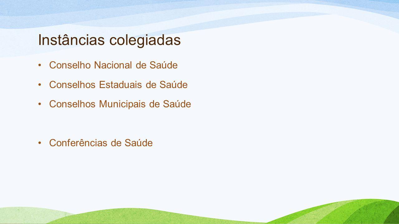 Instâncias colegiadas •Conselho Nacional de Saúde •Conselhos Estaduais de Saúde •Conselhos Municipais de Saúde •Conferências de Saúde