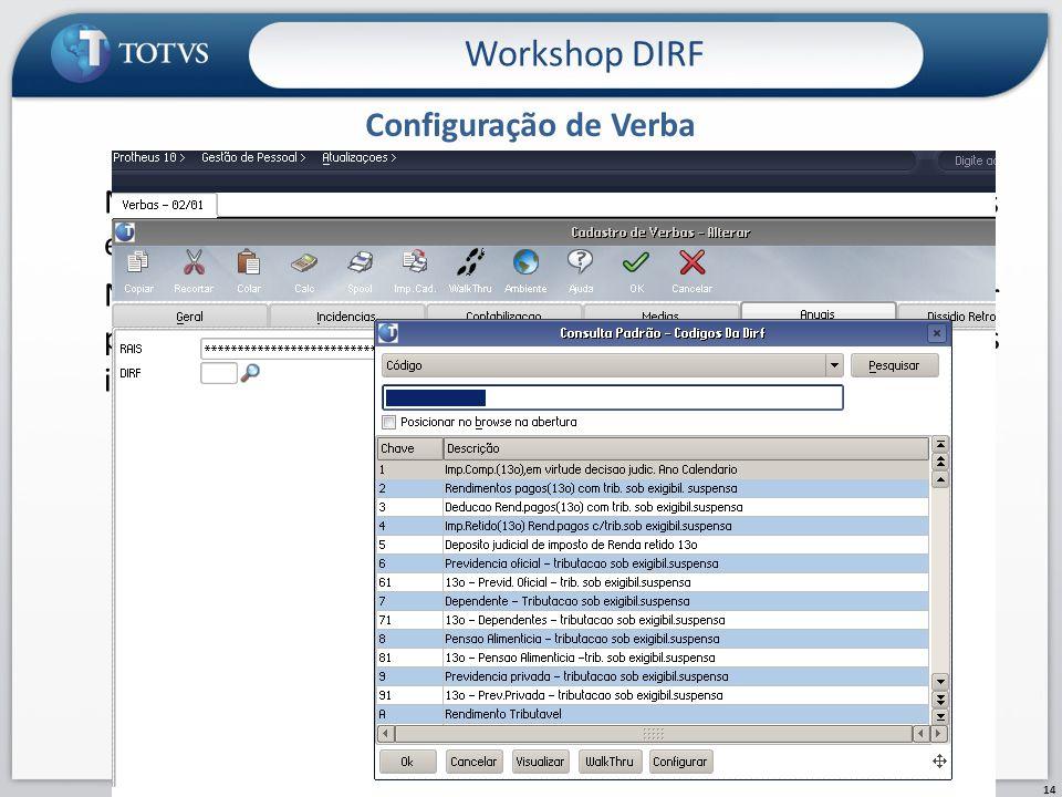 Configuração de Verba Workshop DIRF 14 No módulo Gestão de Pessoal – SIGAGPE, Cadastro de Verbas é permitida a conferência/ajuste das verbas cadastrad