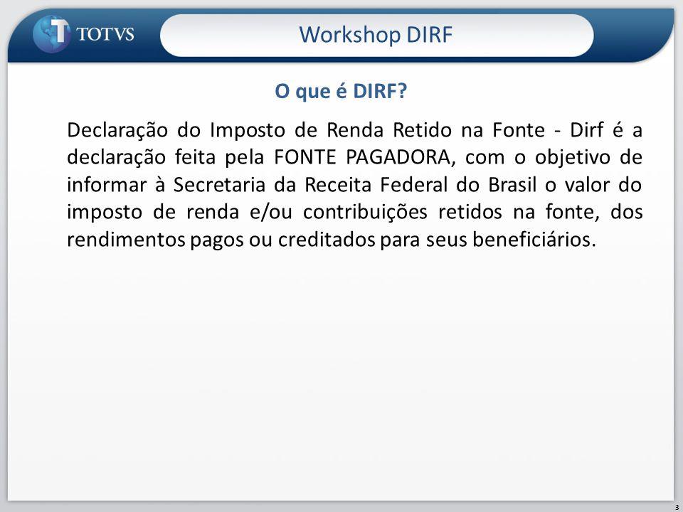 Configuração de Verba Workshop DIRF 14 No módulo Gestão de Pessoal – SIGAGPE, Cadastro de Verbas é permitida a conferência/ajuste das verbas cadastradas.