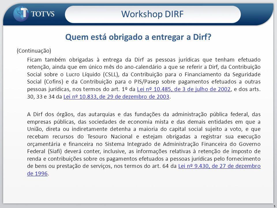 Informações Complementares Workshop DIRF 16 As verbas cujo campo DIRF esteja preenchido com 2 , 5 , R , Z e W são geradas com a descrição das verbas e com o CNPJ da filial.