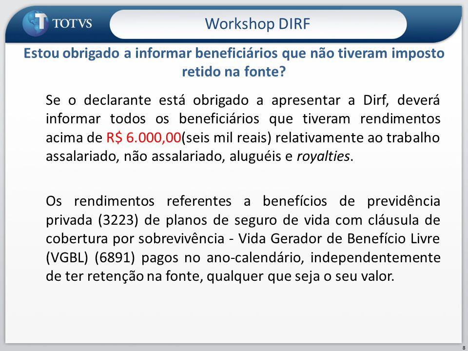 Se o declarante está obrigado a apresentar a Dirf, deverá informar todos os beneficiários que tiveram rendimentos acima de R$ 6.000,00(seis mil reais)
