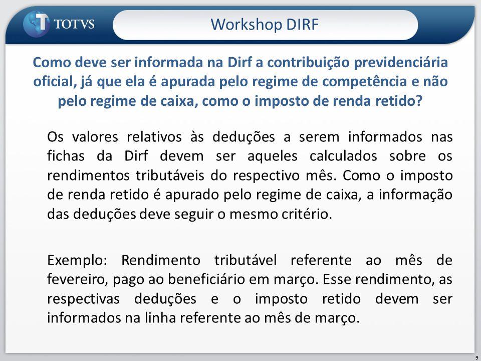 Os valores relativos às deduções a serem informados nas fichas da Dirf devem ser aqueles calculados sobre os rendimentos tributáveis do respectivo mês