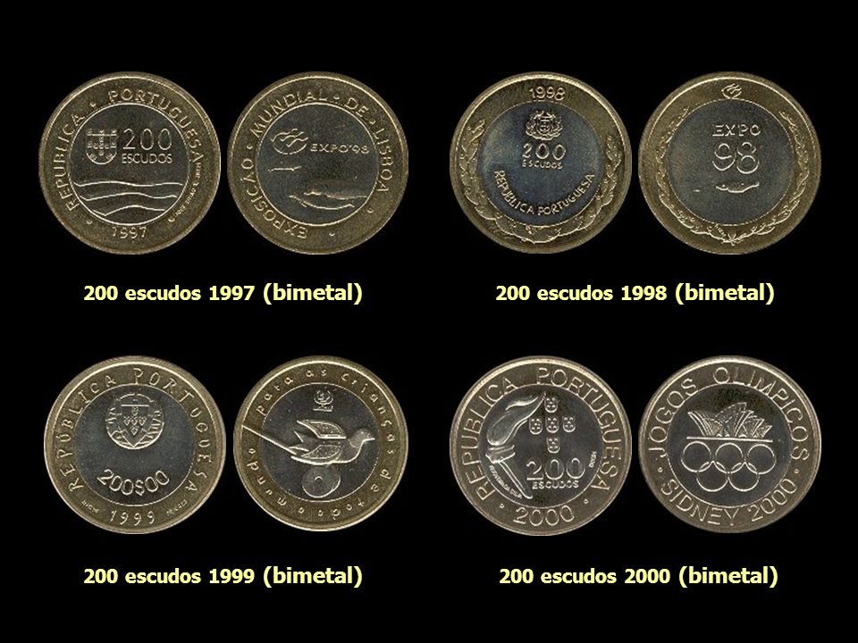 200 escudos 1991 (bimetal) 200 escudos 1995 (bimetal) 200 escudos 1994 (bimetal) 200 escudos 1996 (bimetal)