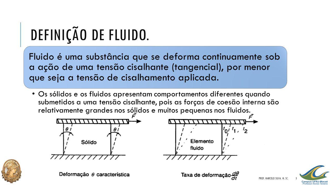 DEFINIÇÃO DE FLUIDO. Fluido é uma substância que se deforma continuamente sob a ação de uma tensão cisalhante (tangencial), por menor que seja a tensã