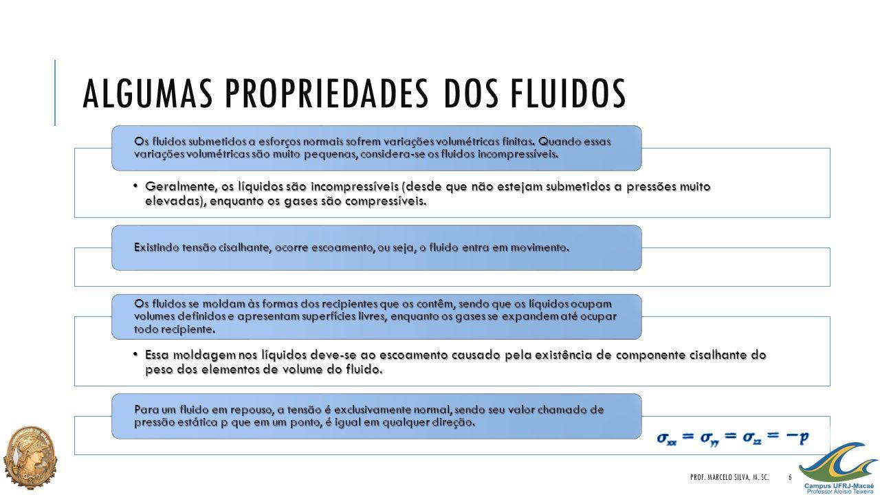 ALGUMAS PROPRIEDADES DOS FLUIDOS •Geralmente, os líquidos são incompressíveis (desde que não estejam submetidos a pressões muito elevadas), enquanto o