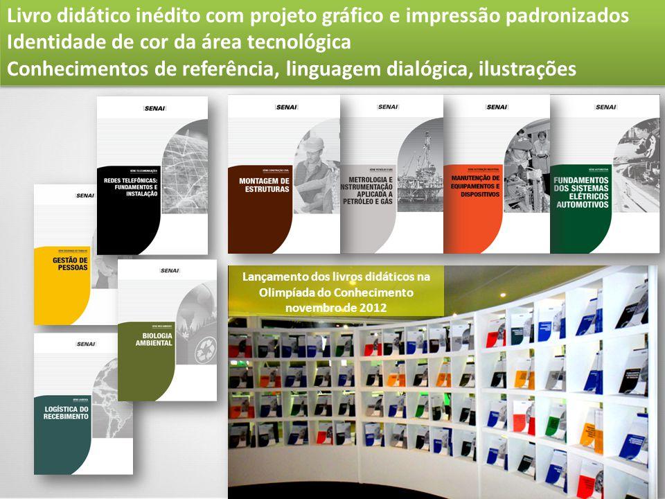 Livro didático inédito com projeto gráfico e impressão padronizados Identidade de cor da área tecnológica Conhecimentos de referência, linguagem dialó
