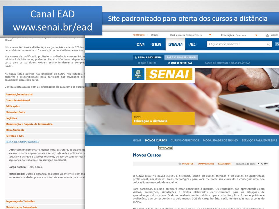 Site padronizado para oferta dos cursos a distância Canal EAD www.senai.br/ead Canal EAD www.senai.br/ead