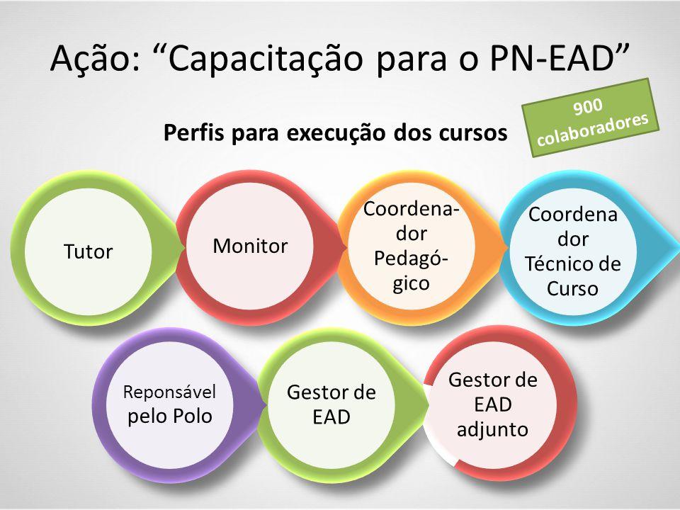 """Perfis para execução dos cursos Ação: """"Capacitação para o PN-EAD"""" 900 colaboradores"""