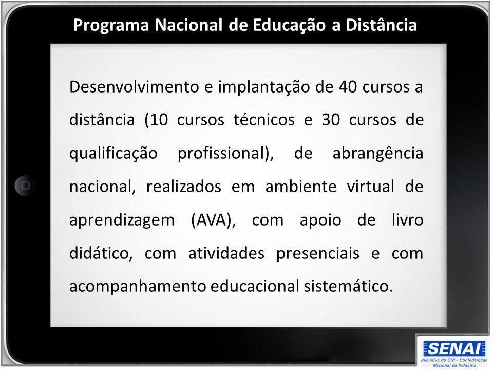 Desenvolvimento e implantação de 40 cursos a distância (10 cursos técnicos e 30 cursos de qualificação profissional), de abrangência nacional, realiza
