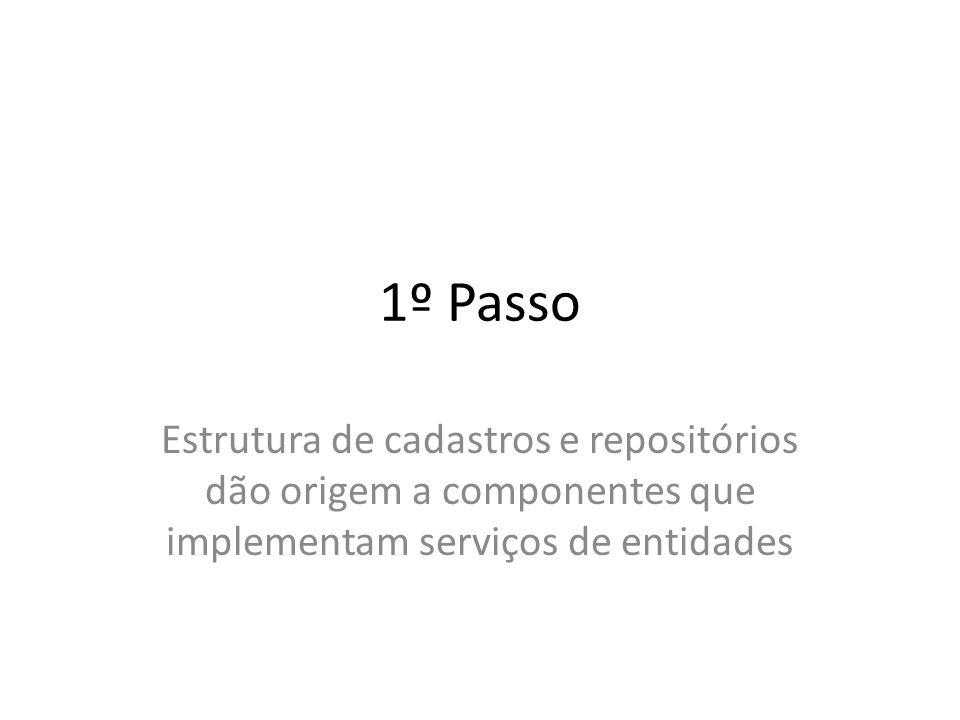 1º Passo Estrutura de cadastros e repositórios dão origem a componentes que implementam serviços de entidades