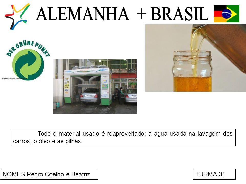 NOMES:Pedro Coelho e BeatrizTURMA:31 Todo o material usado é reaproveitado: a água usada na lavagem dos carros, o óleo e as pilhas.