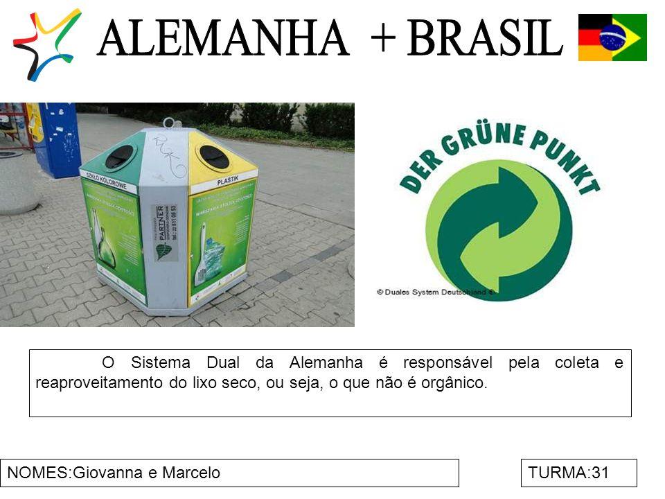 NOMES:Giovanna e MarceloTURMA:31 O Sistema Dual da Alemanha é responsável pela coleta e reaproveitamento do lixo seco, ou seja, o que não é orgânico.