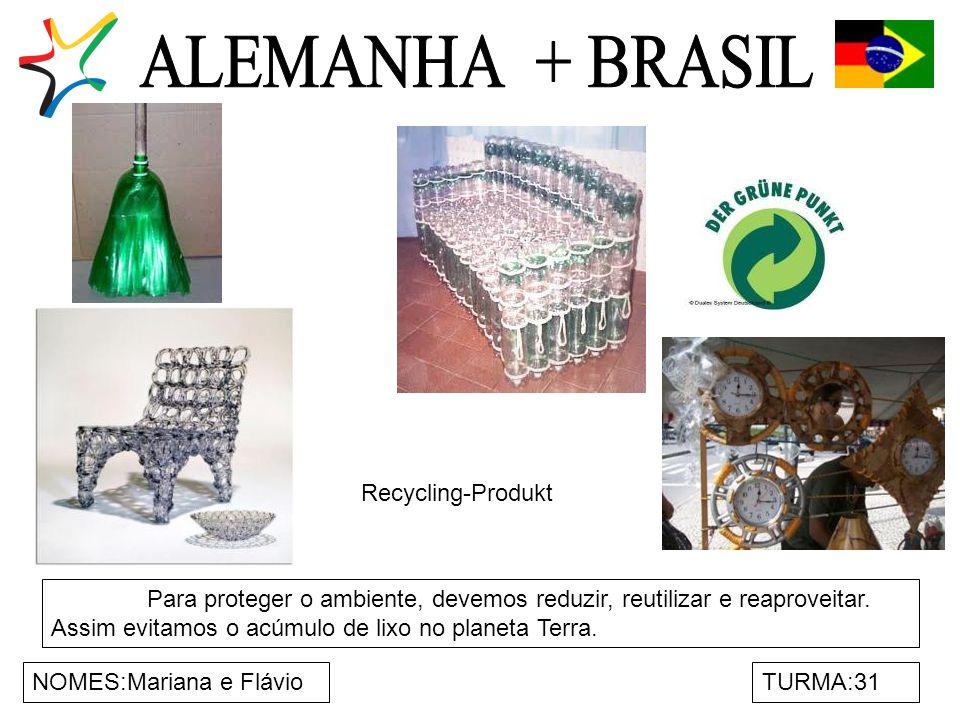 NOMES:Mariana e FlávioTURMA:31 Para proteger o ambiente, devemos reduzir, reutilizar e reaproveitar. Assim evitamos o acúmulo de lixo no planeta Terra