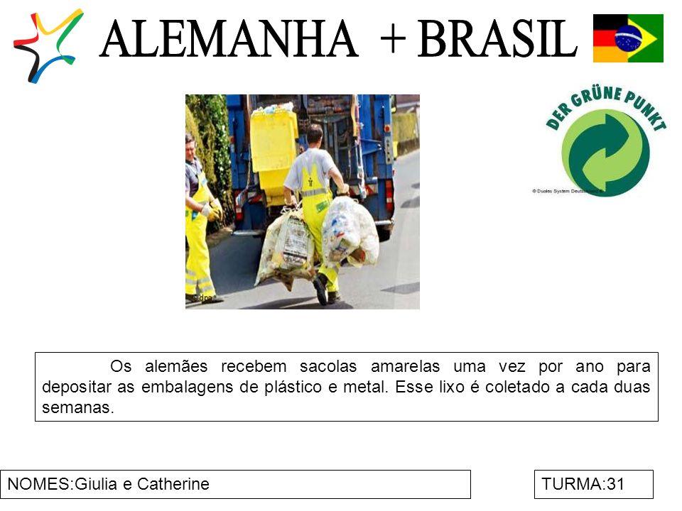 NOMES:Giulia e CatherineTURMA:31 Os alemães recebem sacolas amarelas uma vez por ano para depositar as embalagens de plástico e metal. Esse lixo é col
