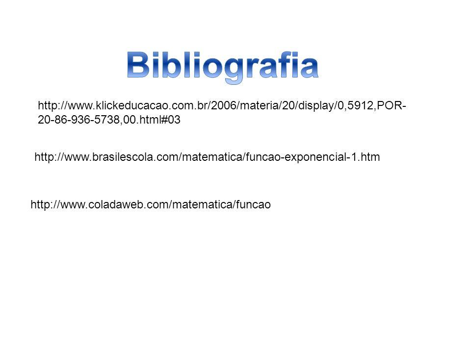 http://www.klickeducacao.com.br/2006/materia/20/display/0,5912,POR- 20-86-936-5738,00.html#03 http://www.coladaweb.com/matematica/funcao http://www.brasilescola.com/matematica/funcao-exponencial-1.htm