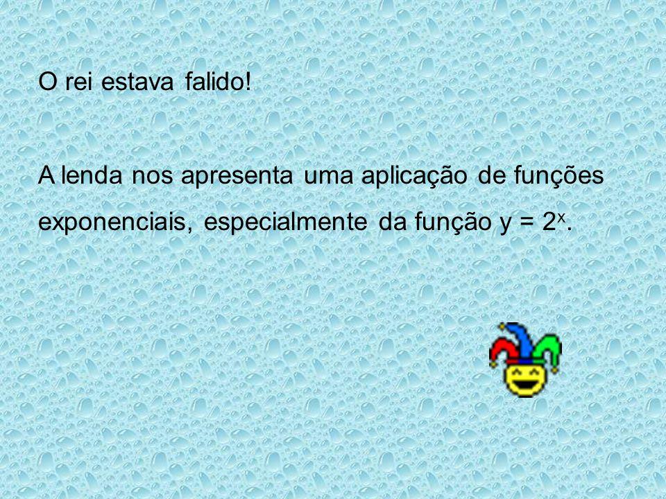 O rei estava falido! A lenda nos apresenta uma aplicação de funções exponenciais, especialmente da função y = 2 x.