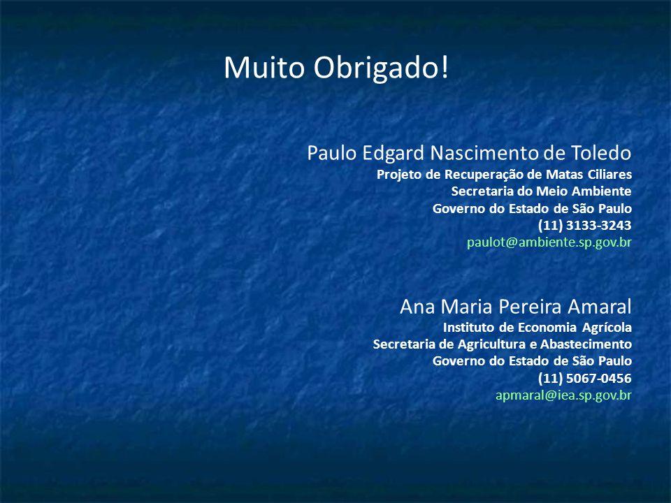 Muito Obrigado! Paulo Edgard Nascimento de Toledo Projeto de Recuperação de Matas Ciliares Secretaria do Meio Ambiente Governo do Estado de São Paulo