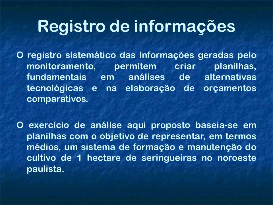 Registro de informações O registro sistemático das informações geradas pelo monitoramento, permitem criar planilhas, fundamentais em análises de alter