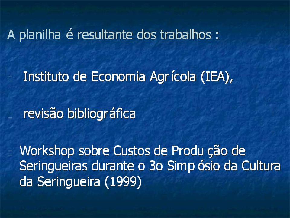 TABELA - Estimativas de Custos Operacionais Efetivo (COE) e Total (COT), com a Forma ç ão e Manuten ç ão de um Seringal, 500 P é s por Hectare, Sistema de Sangria em S/2 e D3 Durante 10 Meses, Estado de São Paulo, agosto de 2007.