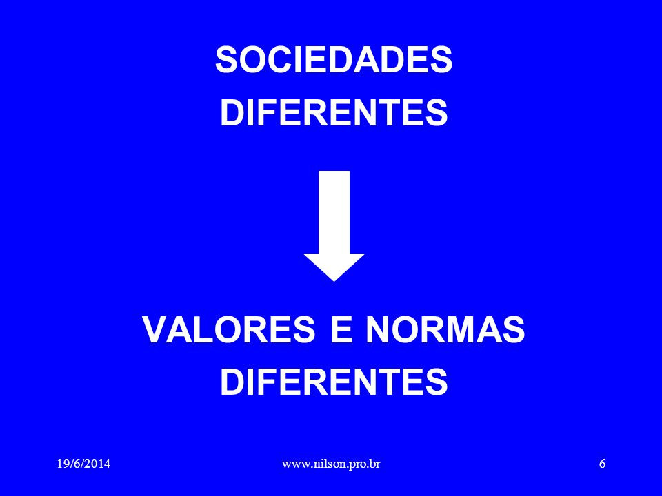 SOCIEDADES DIFERENTES VALORES E NORMAS DIFERENTES 19/6/20146www.nilson.pro.br