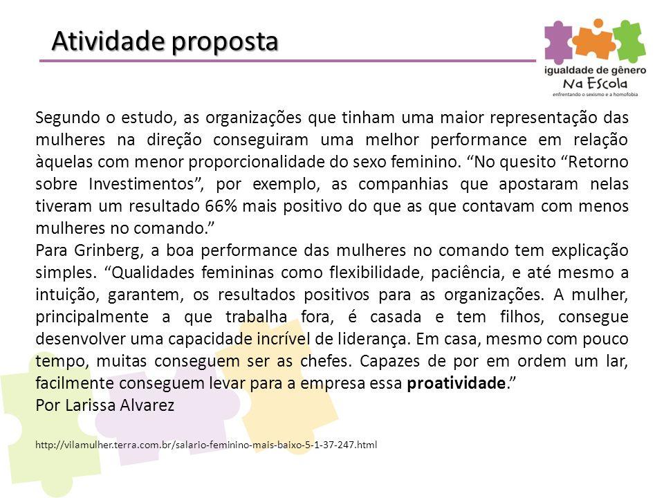 Atividade proposta Segundo o estudo, as organizações que tinham uma maior representação das mulheres na direção conseguiram uma melhor performance em