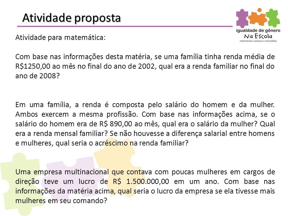 Atividade proposta Atividade para matemática: Com base nas informações desta matéria, se uma família tinha renda média de R$1250,00 ao mês no final do