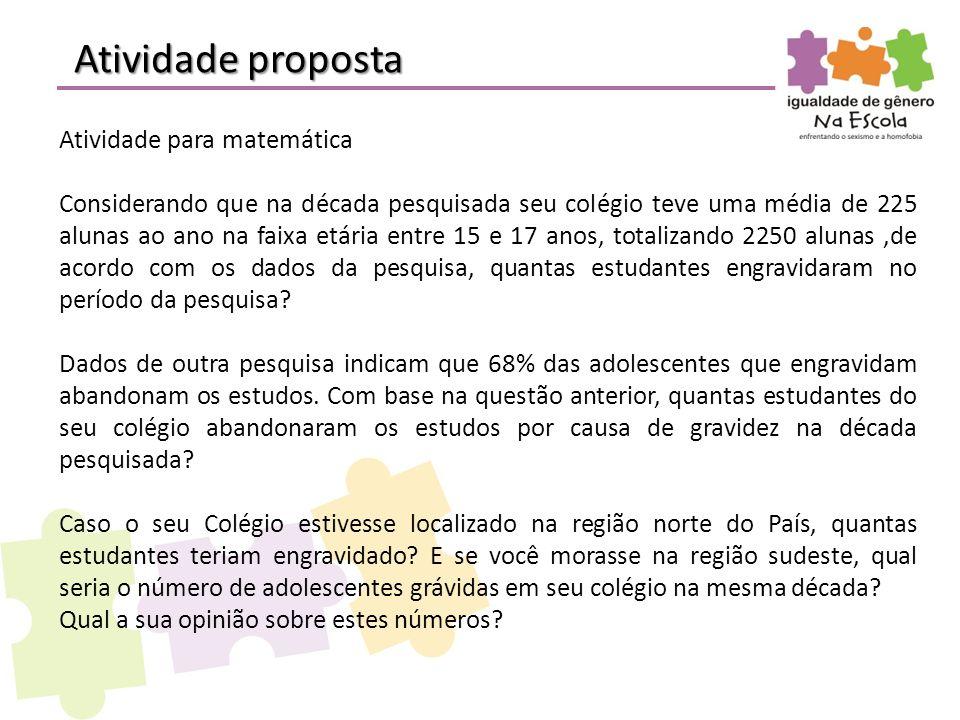 Atividade proposta Atividade para matemática Considerando que na década pesquisada seu colégio teve uma média de 225 alunas ao ano na faixa etária ent